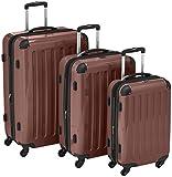 HAUPTSTADTKOFFER - Alex - Set di 3 valigie (S, M & L), 235 litri, Colore Marrone...