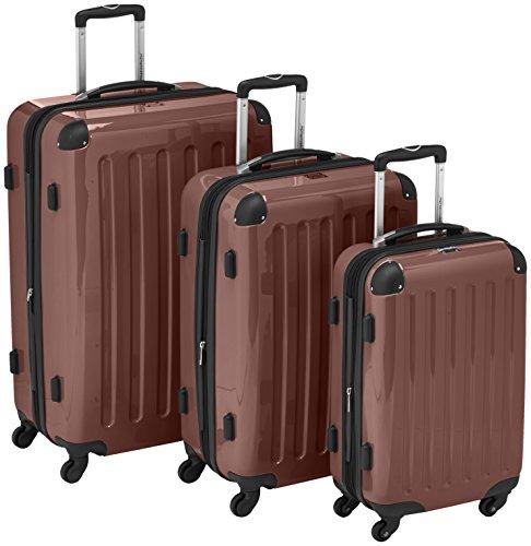 HAUPTSTADTKOFFER - Alex - Set di 3 valigie (S, M & L), 235 litri, Colore Marrone