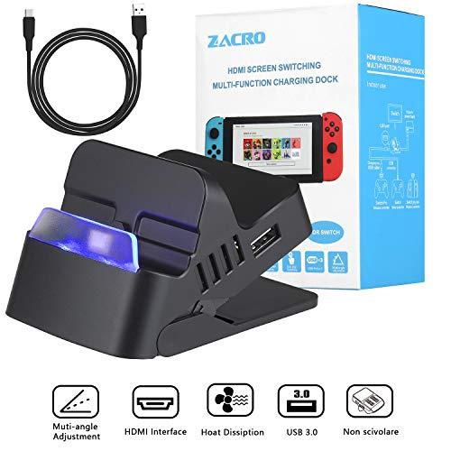 Zacro Nintendo Switch Dock Portatile e Tipo-C a cavo di ricarica rapida USB, 2K HDMI e porta USB 3.0, USB2.0, Dock di Ricarica