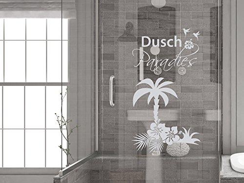 GRAZDesign Duschkabine Aufkleber Fenstertattoo Schriftzug Dusch Paradies mit Palme, Fensterfolie fürs Badezimmer - Glastattoo für Dusche / 104x57cm