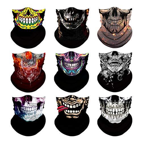 CHIC DIARY 9 Stück Funktionstücher Totenkopf Gesichtsmaske Atmungsaktiv Gesichtstuch Motorrad Maske Sturmmaske Halstuch Bandana