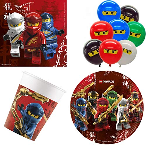 Party-Teufel® Ninjago - Meister des Spinjitzu Masters of Spinjitzu Geschirr-Set 44-teilig Servietten Pappteller Pappbecher Luftballons Kindergeburtstag Partygeschirr 8 Kinder