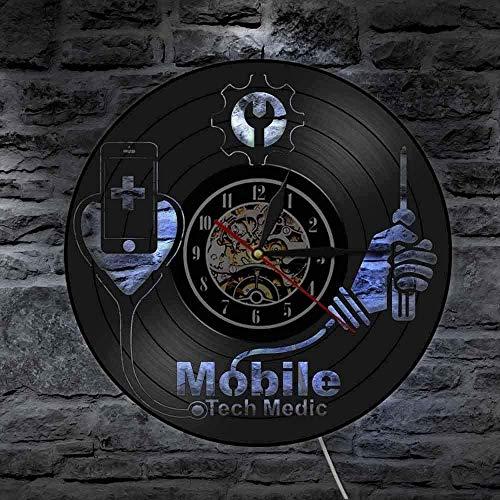 Equipo Inteligente Hospital Reparación de teléfonos móviles Logotipo Tienda Colgante de Pared Arte Teléfono móvil Reloj de Pared Tecnología Médico Militar Disco de Vinilo Reloj de Pared 30x30cm