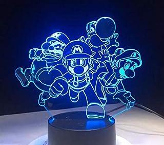 Creativo Super Mario Bros. Lámpara de mesa 3D USB Acrílico LED Luz nocturna Decoración Regalo