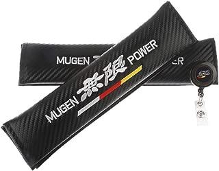 Clavel Autopartes 2pcs Car Seat Belts Covers Padding Carbon Fiber Leather Belt Shoulder Sleeve + 1pc Retractable Badge Reel with Metal Belt Clip (Mug)