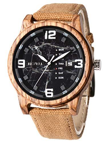 Alienwork Reloj Hombre Amarillo Pulsera de la OTAN Calendario Fecha Negro Madera Natural