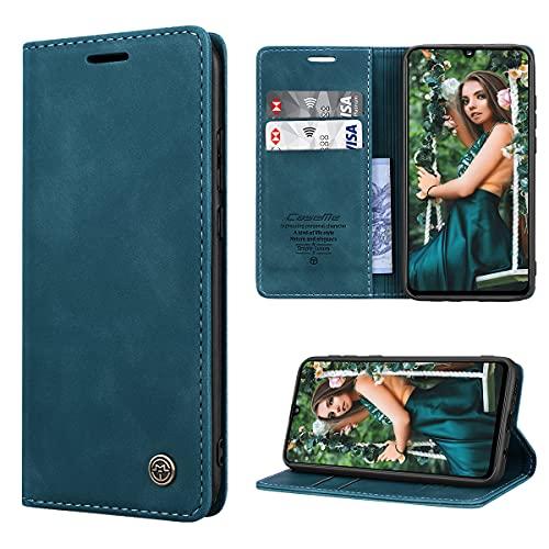RuiPower Handyhülle für Samsung Galaxy A41 Hülle Premium Leder PU Flip Hülle Magnetisch Klapphülle Wallet Lederhülle Silikon Bumper Schutzhülle für Samsung Galaxy A41 Tasche - Blaugrün