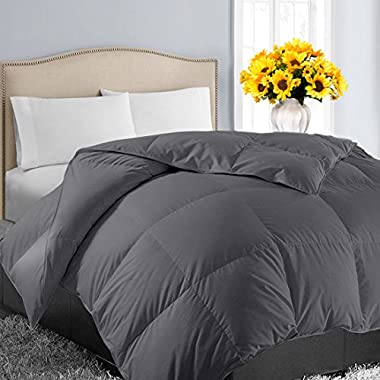 EASELAND King Soft Quilted Down Alternative Summer Cooling Comforter Hotel Collection Reversible Duvet Insert with Corner Tab,Warm Fluffy Hypoallergenic for All Season,Dark Grey,90 by 102 Inches