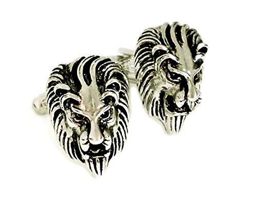 Unbekannt Manschettenknöpfe Löwe silbern schwarz inkl. Geschenkbox MM0837