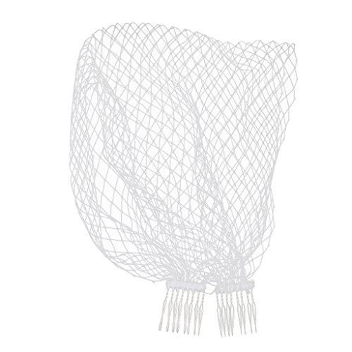 F Fityle Brautnetz-Schleier mit Verzierungen, Kamm, Blumen-Fascinator, Netz, kurz, Schleier für Bräute
