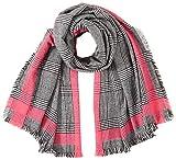 Only ONLHILDE Check Woven Scarf Bufanda, Negro/detalle: color rosa, Talla única para Mujer