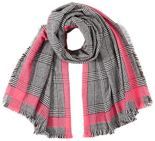 Only ONLHILDE Check Woven Scarf Bufanda, Negro/detalle: color rosa, Talla única para...
