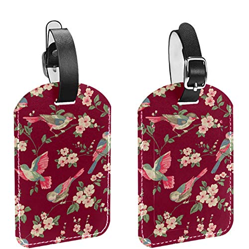KAMEARI 2 Pack Luggage Tags, PU Leather Name ID Labels with Privacy Cover for Travel Bag Suitcase Isabelle Floral Toile Wallpaper A Floral Toile Wal