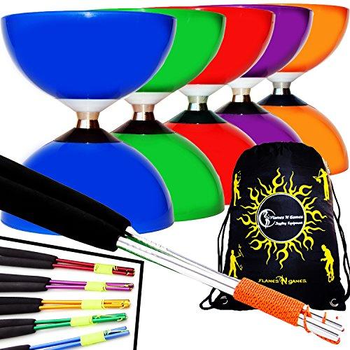 Carousel Diabolo mit kugellager + Diablo Alu Handstäbe und Diaboloschnur + Diabolos Reisetasche! Ideal für Kinder und Anfänger. (Blau Diabolo + Blau Handstäbe)
