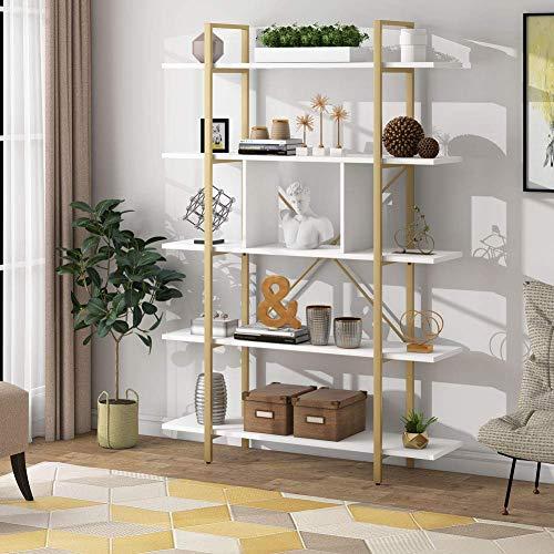 Tribesigns Libreria 5 Livelli Portaoggetti Industriale Ripiani Mensola Libreria Scaletta per Soggiorno, Camera da Letto, Ufficio, 105x29.5x180cm (Oro)