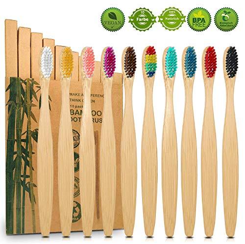 10er Pack Bambus Zahnbürsten, Borsten der Zahnbürste mit Premium Aktivkohle für beste Sauberkeit, 100% BPA freie, Plastikfrei, Vegan, Umweltfreundlich, Recycelbar, Biologisch Abbaubare