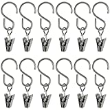 Curtain Clips with Hook for Curtain, Photos, Home Decoration, Arts and Craft Display, Party String Light, Outdoor Wire Holder, Silver 25 Pack