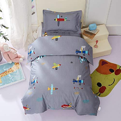 Lanqinglv Bettwäsche Set 135x200 cm Baumwolle Jungen Kinderbettwäsche Grau Flugzeug Muster Renforcé Bettbezug mit Reißverschluss und Kissenbezug 80x80cm
