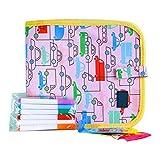 Kinder Zeichenblock Tragbare Doppelseitige Wiederverwendbare Löschbare Zeichenblock Spielzeug Interessante Graffiti Buch Schreibblock Mit 6 Farbigen Löschbaren Stiften, Geschenk Für Jungen Mädchen