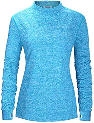 Fulbelle Womens T Shirts, Women's Fall Long Sleeve Casual Tops Yoga Running Athletic Gym Workout Clothes Comfortable Cozy Outdoor T-Shirt Stretchy Quick Dry Clothing Blue Large