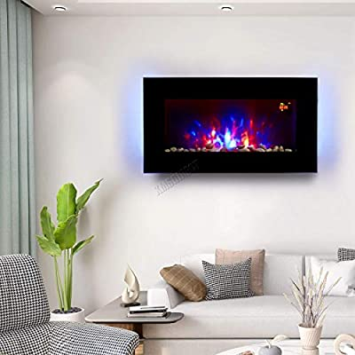 HEATSURE Wall Mounted Electric Fire | Flat Glass Screen Fireplace With 7 Colour LED Backlight | Fake Flame Fire Electronic Fireplace With Remote | 2kw EF851KB
