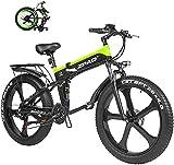 Bicicleta Eléctrica Bicicleta eléctrica de 26 pulgadas Bicicleta de nieve de neumático de grasa plegable 12.8Ah Li-batería Playa Cruiser Montaña E-Bike Batería de litio Playa Cruiser para adultos (Col