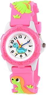 Venhoo Kids Watches Cute 3D Cartoon Waterproof Silicone Children Toddler Wrist Watch for 3-10 Year Girls Little Child-Pink Dinosaur