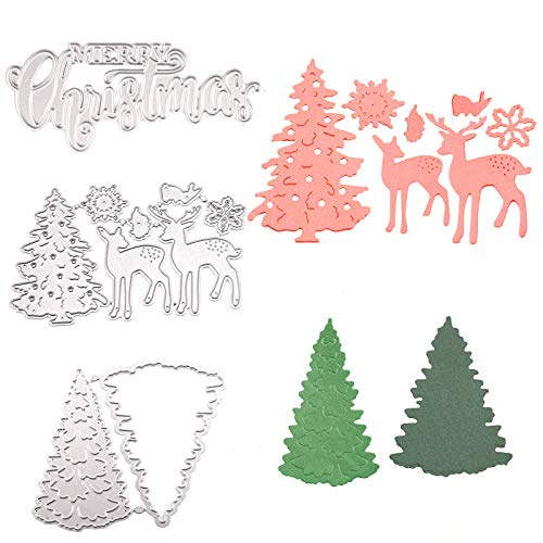LUTER 3Pcs Christmas Metal Die Cuts, Metal Merry Christmas Tree Reindeer Cutting Dies Stencils for Scrapbook Embossing Album Paper Card Craft Making