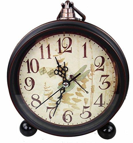 GMMH Tischuhr Nostalgie Antik Vintage Retro Metall Standuhr Wecker Uhr Design (antik braun 27-2)