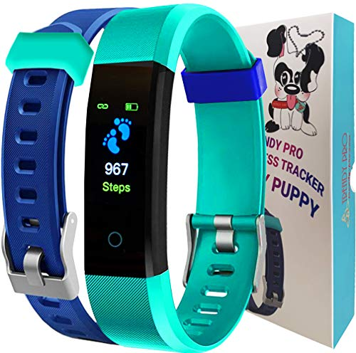 Kids Fitness Tracker for Kids Activity Tracker - Smart Watch for Boys Girls Teens Step Counter Sleep Exercise Pedometer GPS Heart Rate Silent Alarm Reminders Notification TRENDY PUPPY 2 Band BLUE AQUA