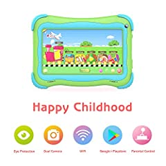☑Best selection of hits kids love:kids tablet includes over 20,000 books, movies, TV shows, and educational apps and games featuring kids' favorite characters.This android kids tablet's background color and fonts change to a kid-friendly design and t...