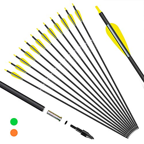 KESHES Archery Carbon Arrows for Compound & Recurve Bows - 30 inch Youth Kids and Adult Target Practice Bow Arrow - Removable Nock & Tips Points (12 Pack) (Yellow)