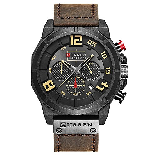 CURREN Men Watch Multifunctional Military Sport Wristwatch Leather Strap with Date Display 8287