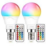 Bombilla de luz que cambia de color, equivalente a 40 vatios, regulable 6W E14 Bombillas de luz LED RGBW con tornillo Edison, Luces que cambian de color con función de sincronización de memoria dual