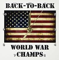3dRose dc_123038_1 Back to Back World War Champs アメリカ国旗デスク時計 15.24×15.24cm