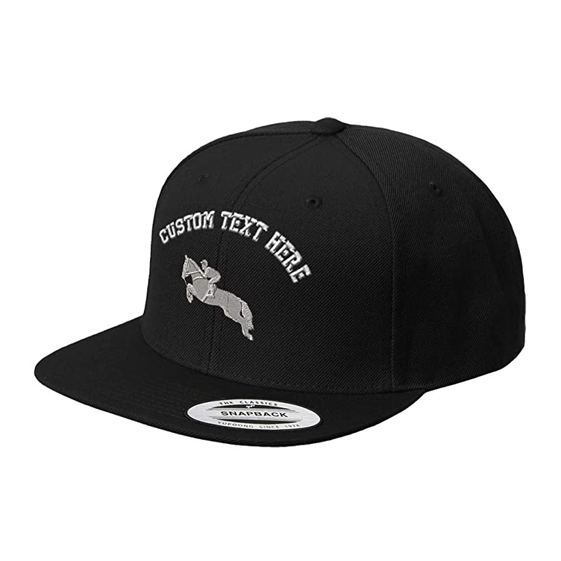 Custom Snapback Baseball Cap Jumper Horse Embroidery Design Acrylic Cap Snaps