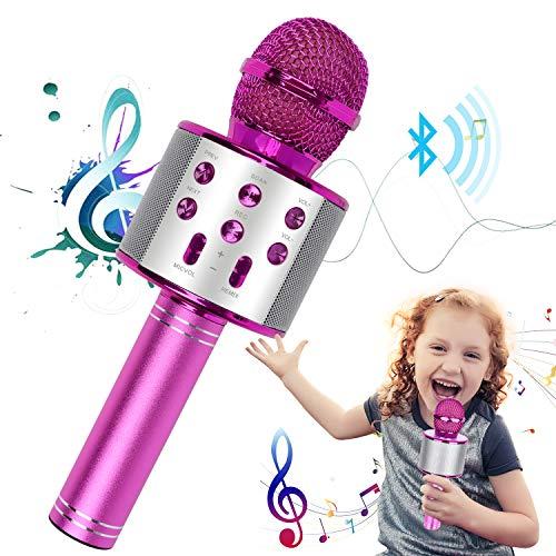Drahtloses Karaoke-Mikrofon, tragbares Bluetooth-Karaoke-Mikrofon 4-in-1-Handheld-Karaoke-Player, Heim-KTV-Player mit Aufnahmefunktion, kompatibel mit Android- und iOS-Geräten für Heim-KTV/Kinder