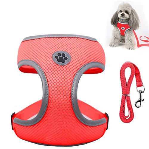 Shinmax Arnés Reflectante para Perros Pequeños, Arnés Antitirones Acolchado Suave con Arnés Ajustable para Cachorros de Malla Transpirable para Perros y Gatos Pequeños, Medianos