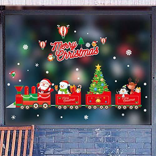 WARMWORD Ventanas de Navidad Pegatinas Santa Claus Copo de Nieve Vinilo Extraíble árbol de Navidad DIY Wall Window Door Mural Decal Sticker para escaparate 45x60cm