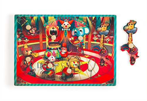 Janod - J07075 - Puzzle Bois Musical Le Cirque Zapatta 7 pcs