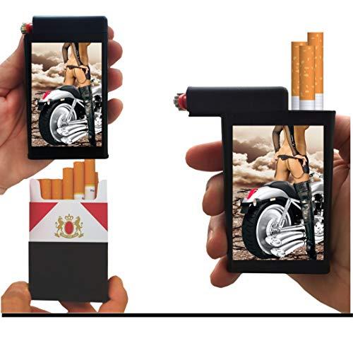 cigarette cases with bic lighters Cigarette Case Motorcycle Biker Girl with Built on Lighter Holder