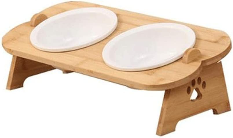 KNDJSPR Elevated Cat Ceramic Bowls Fee Detroit Mall Solid Water 5% OFF Bamboo Stand