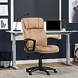 Serta Hannah Microfiber Office Chair with Headrest Pillow, Adjustable Ergonomic with Lumbar Support, Soft Fabric, Light Beige