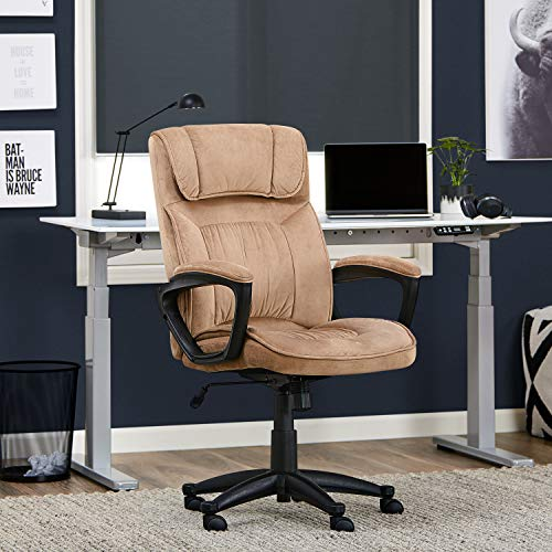 Serta Hannah Microfiber Office Chair with Headrest Pillow, Adjustable Ergonomic with Lumbar Support, Soft Fabric, Light Beige