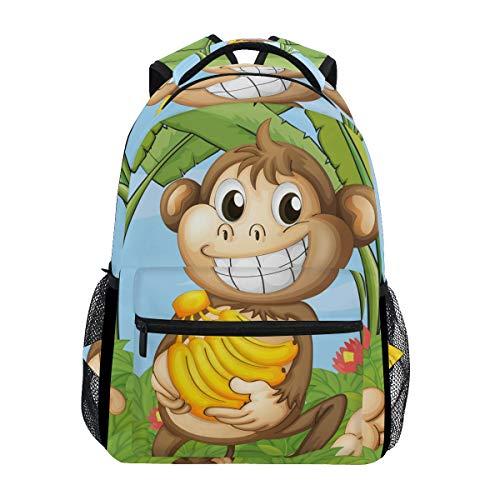IMOBABY Cheeky Monkey Kids School Backpack Book Bag Travel Daypack