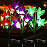 BrizLabs Outdoor Solar Garden Lights, 3 Pack 12 LED Solar Flower Lights, Waterproof Lily Flower Lights Solar Powered, Color Changing Landscape Lights for Garden, Pathway, Yard, Walkway, Porch Decor