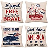 Whaline 4 Pieces July 4th Pillow Cover,...