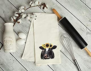 Sunflower Cow Kitchen Tea Towel