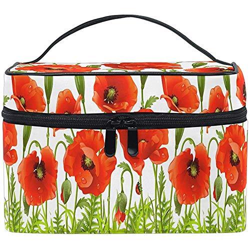 Poppy Red Cosmetic Bag Spring Flower Floral Makeup Bag Travel Cosmetic Brush Bag Storage Organizer