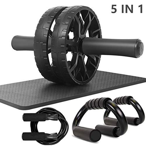 Sunifier Ab Roller Wheel for Abdominal Exercise with Push UP Handles for Floor Abdominal Exercise Equipment Home Gym Workout Equipment for Men Women (Black)